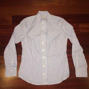 Women's Blue/White striped button down shirt